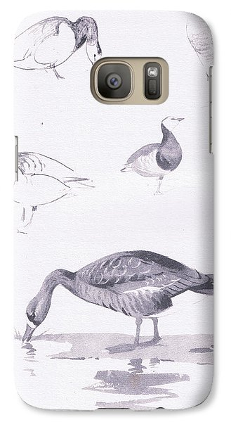 Barnacle And White Fronted Geese Galaxy Case by Archibald Thorburn