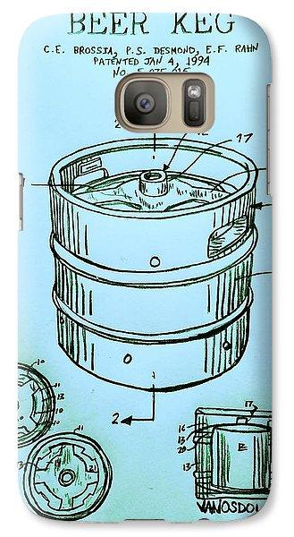 Beer Keg 1994 Patent - Blue Galaxy S7 Case by Scott D Van Osdol
