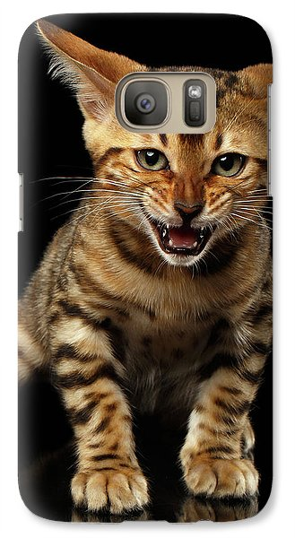 Bengal Kitty Stands And Hissing On Black Galaxy Case by Sergey Taran