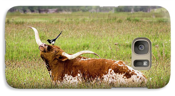 Best Friends - Texas Longhorn Magpie Galaxy S7 Case by TL Mair