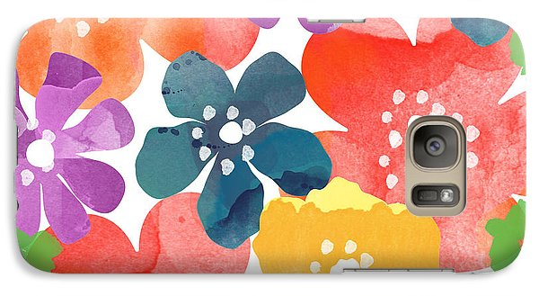 Big Bright Flowers Galaxy Case by Linda Woods