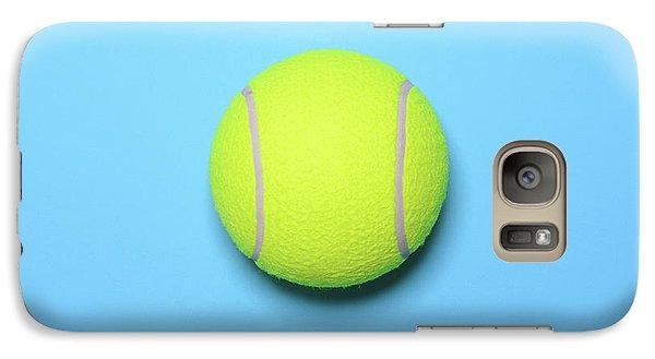 Big Tennis Ball On Blue Background - Trendy Minimal Design Top V Galaxy Case by Aleksandar Mijatovic