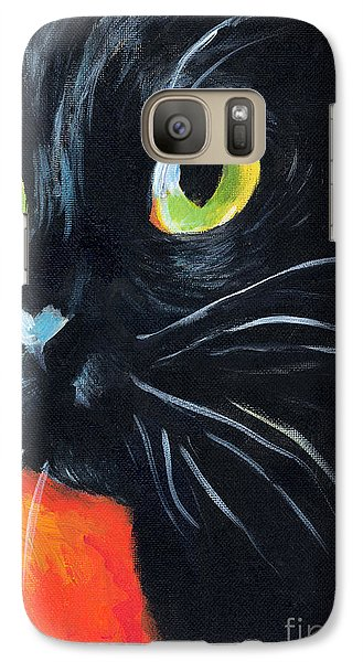 Black Cat Painting Portrait Galaxy S7 Case by Svetlana Novikova