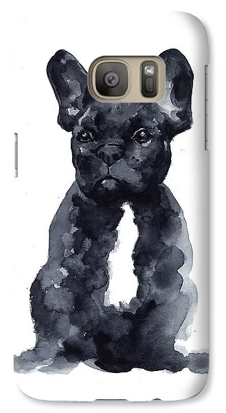 Black French Bulldog Watercolor Poster Galaxy S7 Case by Joanna Szmerdt