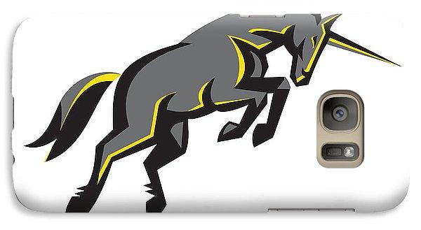 Black Unicorn Horse Charging Isolated Retro Galaxy Case by Aloysius Patrimonio
