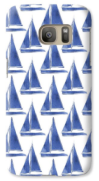 Blue And White Sailboats Pattern- Art By Linda Woods Galaxy S7 Case by Linda Woods