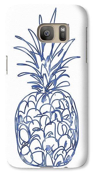 Blue Pineapple- Art By Linda Woods Galaxy S7 Case by Linda Woods