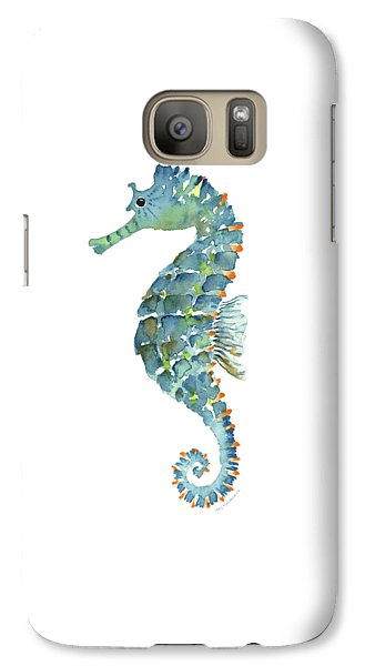 Blue Seahorse Galaxy S7 Case by Amy Kirkpatrick