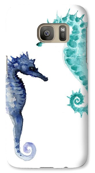 Blue Seahorses Watercolor Painting Galaxy S7 Case by Joanna Szmerdt