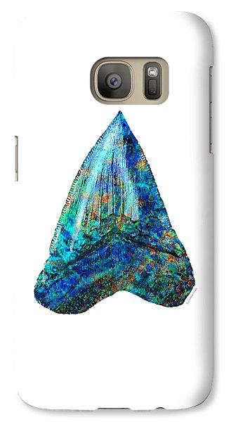 Blue Shark Tooth Art By Sharon Cummings Galaxy Case by Sharon Cummings