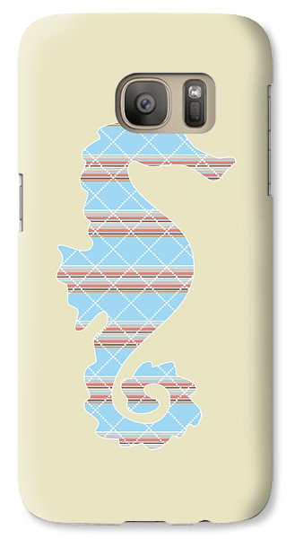 Blue Stripe Pattern Aged Galaxy S7 Case by Christina Rollo