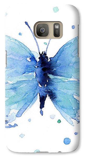 Blue Watercolor Butterfly Galaxy S7 Case by Olga Shvartsur
