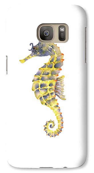 Blue Yellow Seahorse - Square Galaxy S7 Case by Amy Kirkpatrick