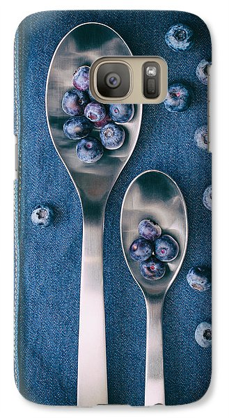 Blueberries On Denim I Galaxy Case by Tom Mc Nemar
