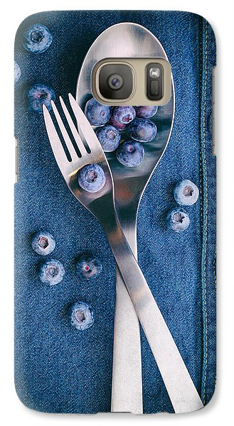 Blueberries On Denim II Galaxy Case by Tom Mc Nemar