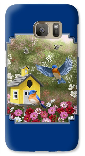 Bluebirds And Yellow Birdhouse Galaxy Case by Crista Forest