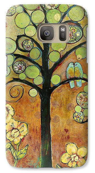 Bluebirds In Paradise Tree Galaxy Case by Blenda Studio