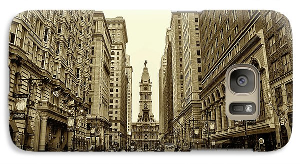Broad Street Facing Philadelphia City Hall In Sepia Galaxy Case by Bill Cannon