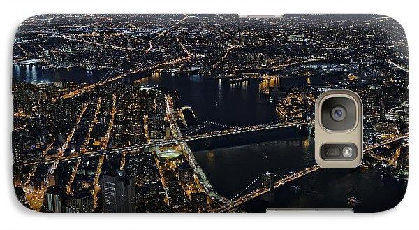 Brooklyn Manhattan And Williamsburg Bridges Aerial View Galaxy Case by Susan Candelario