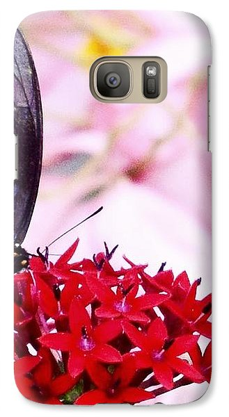Black Butterfly On Red Flower Galaxy Case by Sandy Taylor