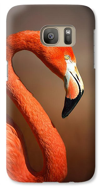 Caribean Flamingo Portrait Galaxy Case by Johan Swanepoel