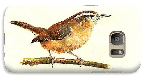 Carolina Wren Watercolor Painting Galaxy S7 Case by Juan  Bosco