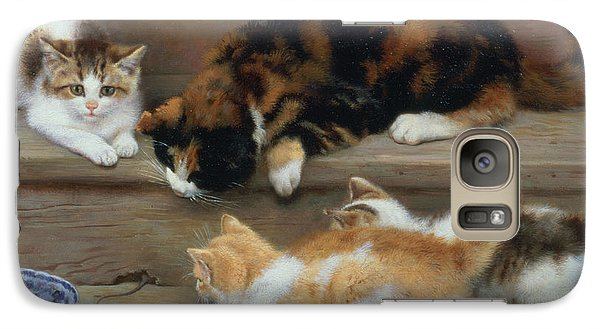 Cat And Kittens Chasing A Mouse   Galaxy Case by Rosa Jameson