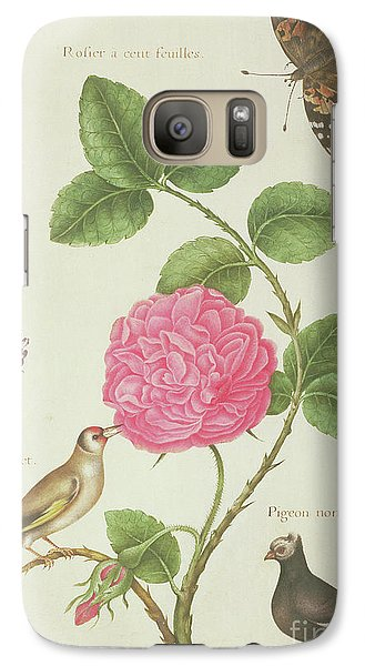 Centifolia Rose, Lavender, Tortoiseshell Butterfly, Goldfinch And Crested Pigeon Galaxy S7 Case by Nicolas Robert