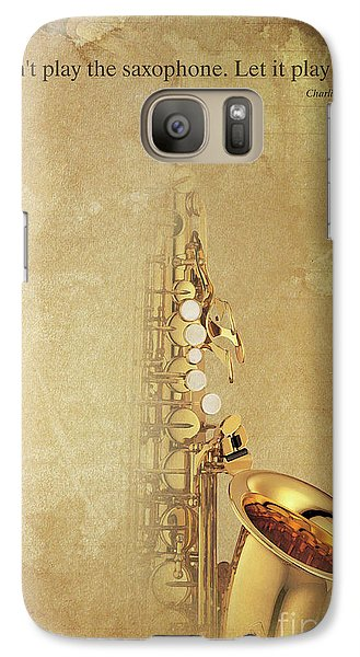 Charlie Parker Saxophone Brown Vintage Poster And Quote, Gift For Musicians Galaxy Case by Pablo Franchi