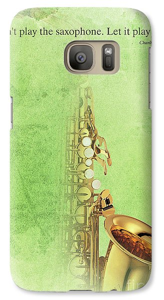 Charlie Parker Saxophone Green Vintage Poster And Quote, Gift For Musicians Galaxy Case by Pablo Franchi