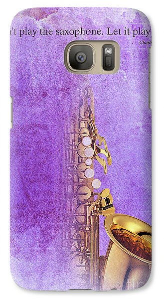 Charlie Parker Saxophone Purple Vintage Poster And Quote, Gift For Musicians Galaxy Case by Pablo Franchi