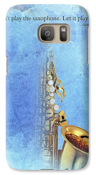 Charlie Parker Saxophone Vintage Poster And Quote, Gift For Musicians Galaxy Case by Pablo Franchi