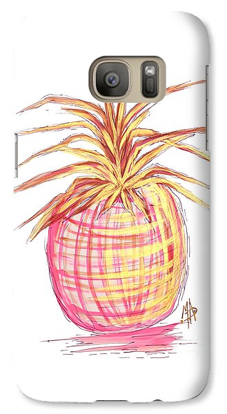 Chic Pink Metallic Gold Pineapple Fruit Wall Art Aroon Melane 2015 Collection By Madart Galaxy S7 Case by Megan Duncanson