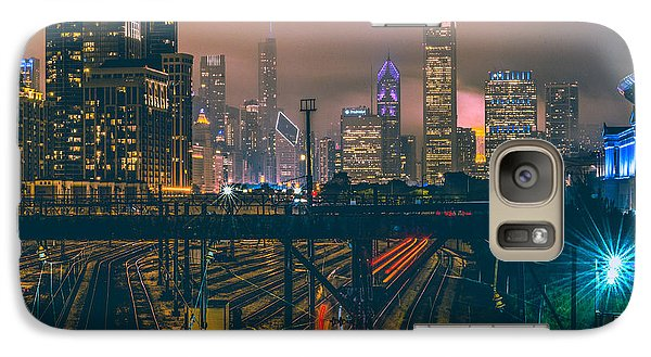 Chicago Night Skyline  Galaxy Case by Cory Dewald