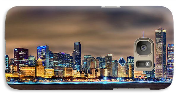 Chicago Skyline At Night Panorama Color 1 To 3 Ratio Galaxy Case by Jon Holiday