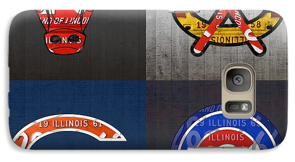 Chicago Sports Fan Recycled Vintage Illinois License Plate Art Bulls Blackhawks Bears And Cubs Galaxy Case by Design Turnpike