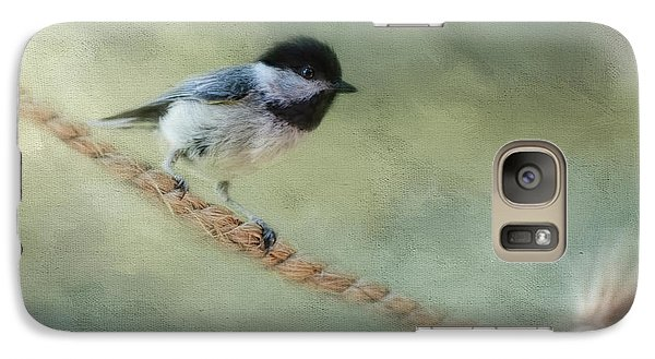 Chickadee At The Shore Galaxy Case by Jai Johnson