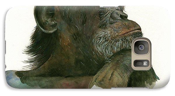 Chimp Portrait Galaxy Case by Juan Bosco