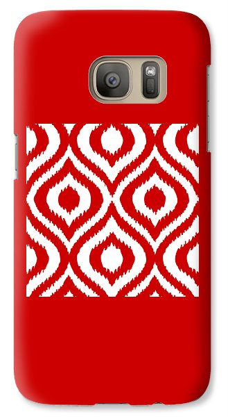 Circle And Oval Ikat In White T02-p0100 Galaxy S7 Case by Custom Home Fashions