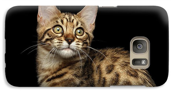 Closeup Bengal Kitty On Isolated Black Background Galaxy S7 Case by Sergey Taran