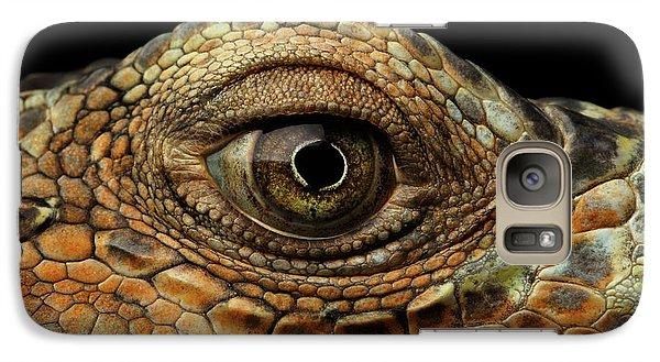 Closeup Eye Of Green Iguana, Looks Like A Dragon Galaxy Case by Sergey Taran