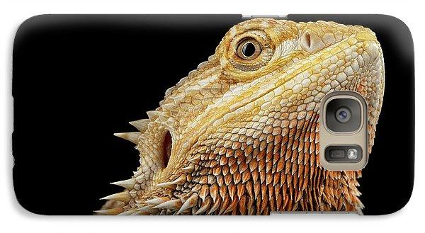Closeup Head Of Bearded Dragon Llizard, Agama, Isolated Black Background Galaxy Case by Sergey Taran