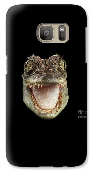 Closeup Head Of Young Cayman Crocodile , Reptile With Opened Mouth Isolated On Black Background, Fro Galaxy Case by Sergey Taran