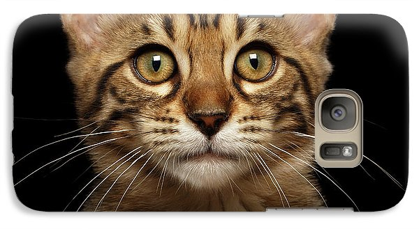 Closeup Portrait Of Bengal Kitty Isolated Black Background Galaxy S7 Case by Sergey Taran