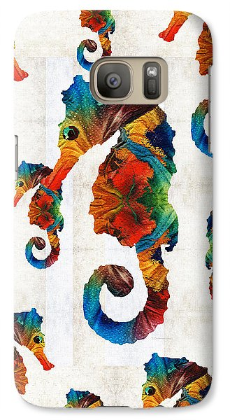 Colorful Seahorse Collage Art By Sharon Cummings Galaxy S7 Case by Sharon Cummings