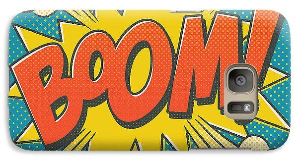 Comic Boom On Blue Galaxy Case by Mitch Frey