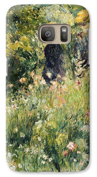 Conversation In A Rose Garden Galaxy Case by Pierre Auguste Renoir