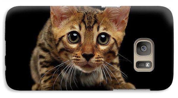 Crouching Bengal Kitty On Black  Galaxy Case by Sergey Taran