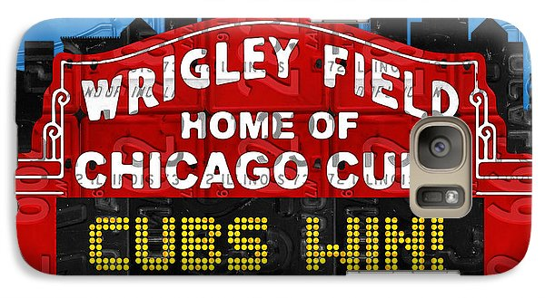 Cubs Win Wrigley Field Chicago Illinois Recycled Vintage License Plate Baseball Team Art Galaxy S7 Case by Design Turnpike