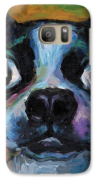 Cute Boston Terrier Puppy Art Galaxy S7 Case by Svetlana Novikova